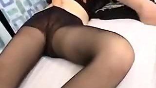 Japanese milf no panty black pantyhose