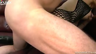 Insatiable milf in body fishnets gives her head and gets fucked