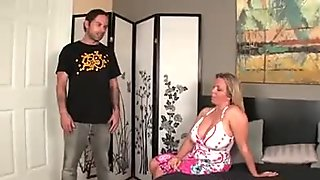 Big tits blonde cougar cant resist a young hard cock