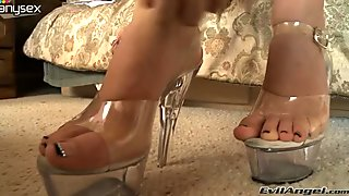 Leggy light haired mom in sexy pantyhose is gonna give stout foot job to her buddy