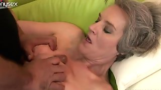Lustful grannie gets her hairy pussy drilled in missionary position