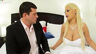 Busty bride Bridgette B gets her pussy eaten by her fiance