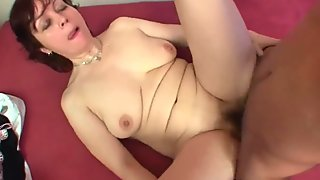Mommy lets her toy boy cum on her body