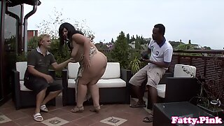 curvaceous plumper interracially romped outdoors