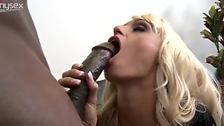Oversized black dick pounds stretched cunt in missionary pose