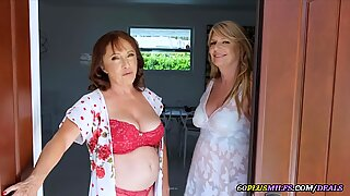 Two Grannies Share a Young Cock
