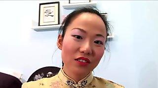 Yu hot Asian babe swallows big cock and gets a facial