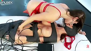 Big tittied milf spits in mouth hole of one tied up slave