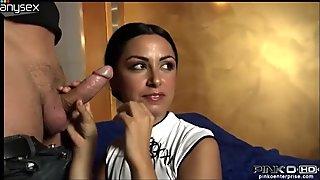 Tasty looking brunette bitch Asia Morante sucks two sweet cocks