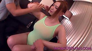 Oiled up Japanese mature Ai Sayama sucks two dicks