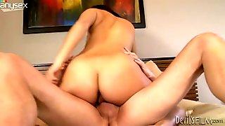 Brunette sexploitress treats her boy with blowjob before riding him