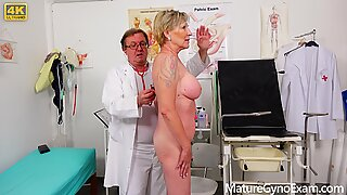 Big busty granny's old pussy exam