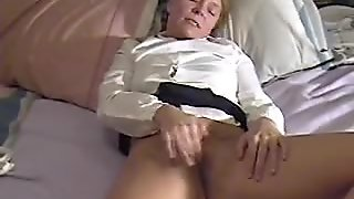 Chick masturbates and cums twice interrupted by ma at end