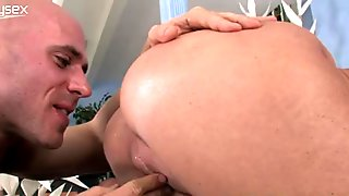 Big breasted light haired MILFie nympho gets brutally fucked doggy